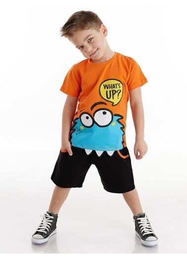 Denokids Whatsup Monster Erkek Çocuk Şort Takım Renkli